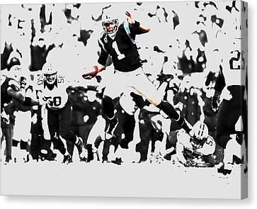 Cam Newton Shake And Bake Canvas Print by Brian Reaves
