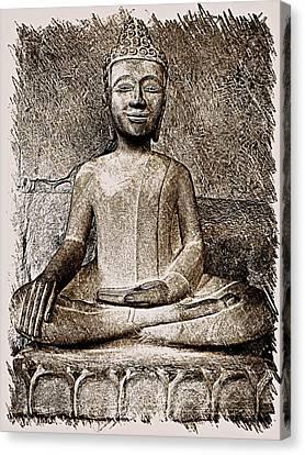 Cambodian Buddha - Sketch Canvas Print by Fini Gamundi
