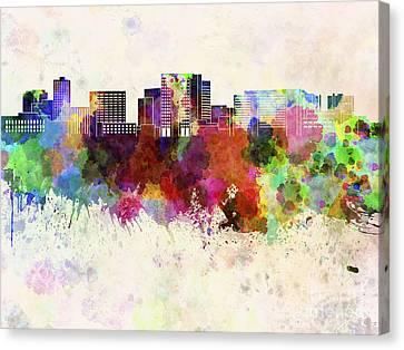 Cambridge Ma Skyline In Watercolor Background Canvas Print by Pablo Romero