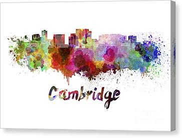 Cambridge Ma Skyline In Watercolor Canvas Print by Pablo Romero