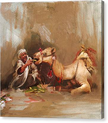 Camels And Desert 13 Canvas Print by Mahnoor Shah