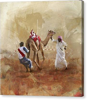 Camels And Desert 20 Canvas Print by Mahnoor Shah