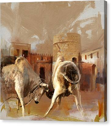 Camels And Desert 22 Canvas Print by Mahnoor Shah