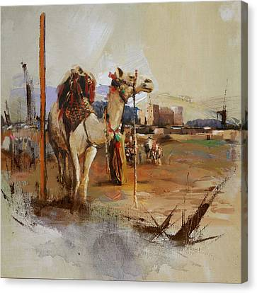 Camels And Desert 25 Canvas Print by Mahnoor Shah