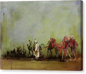 Camels And Desert 3 Canvas Print by Mahnoor Shah