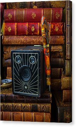 Camera And Old Books Canvas Print by Garry Gay