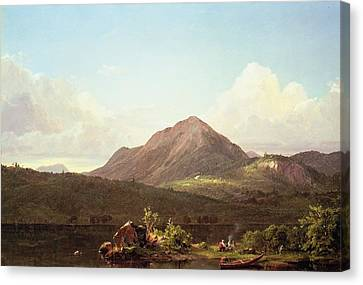 Camp Fire In The Maine Wilderness Canvas Print by Frederic Edwin Church