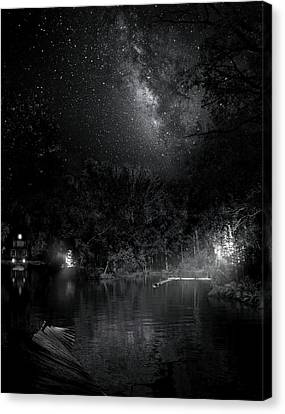 Campfires On Milky Way River Canvas Print by Mark Andrew Thomas