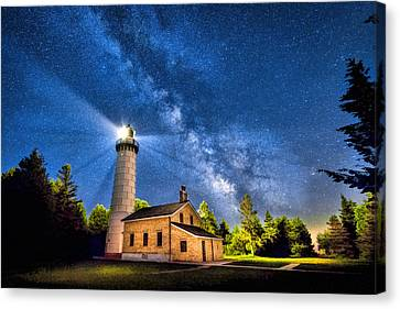 Cana Island Lighthouse Milky Way In Door County Wisconsin Canvas Print by Christopher Arndt