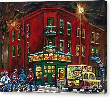Canadian Art Verdun Montreal Paintings Night Hockey Pierrette Patates Canada Dry Truck Winter Scene  Canvas Print by Carole Spandau