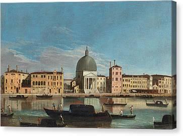 Canal Grande With The Church Of San Simeone Piccolo Canvas Print by Apollonio Domenichini