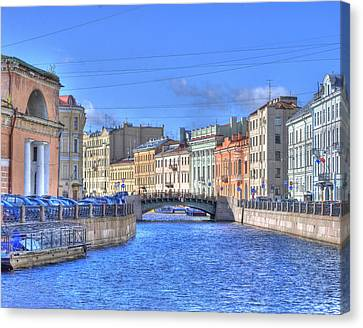 Canal In St. Petersburgh Russia Canvas Print by Juli Scalzi