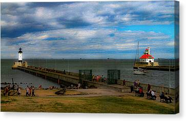 Canal Park Lighthouses Canvas Print by Bonnie Follett
