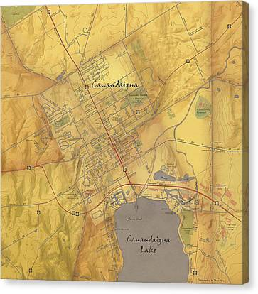 Canandaigua Map Art Canvas Print by Paul Hein