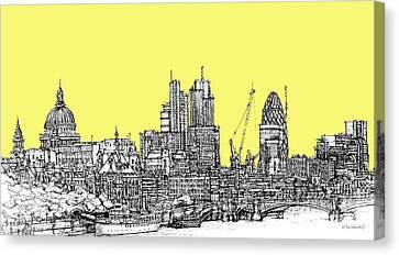 Canary Yellow London Skyline Canvas Print by Adendorff Design