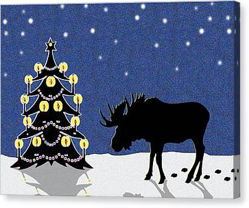 Candlelit Christmas Tree And Moose In The Snow Canvas Print by Nancy Mueller