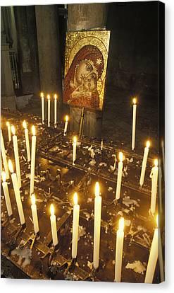 Candles Lit At The Boca Del Verita Canvas Print by Richard Nowitz