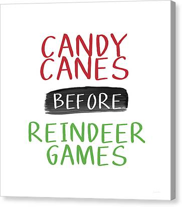 Candy Canes Before Reindeer Games- Art By Linda Woods Canvas Print by Linda Woods