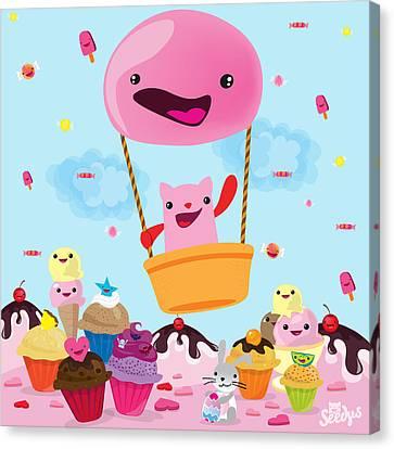 Cartoon Canvas Print featuring the digital art Candy World by Seedys World