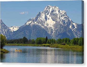 Canoe At Oxbow Bend Canvas Print by Alan Lenk