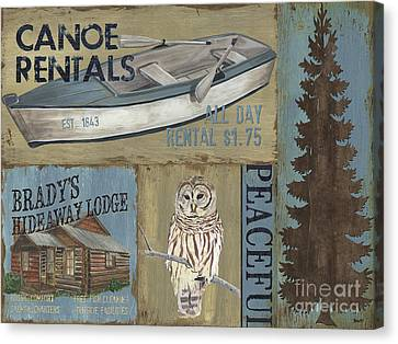 Canoe Rentals Lodge Canvas Print by Debbie DeWitt