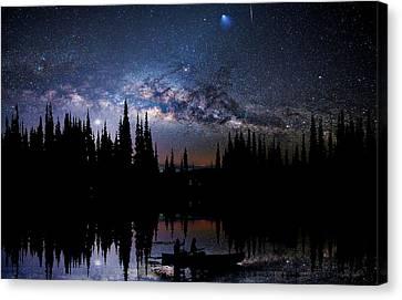 Canoeing - Milky Way - Night Scene Canvas Print by Andrea Kollo