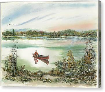 Canoeing On The Lake Canvas Print by Samuel Showman