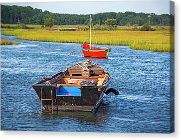Cape Cod Red Boat Chatham Ma Ladder Canvas Print by Toby McGuire