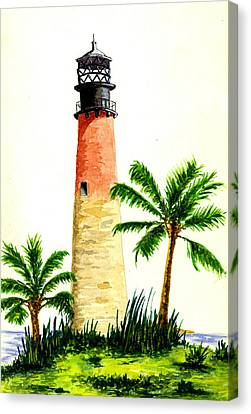 Cape Florida Lighthouse Canvas Print by Michael Vigliotti