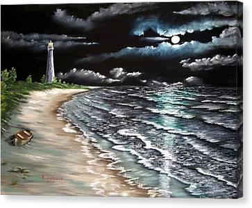 Cape Florida Lite At Midnight Canvas Print by Riley Geddings