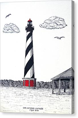Cape Hatteras Lighthouse Drawing Canvas Print by Frederic Kohli