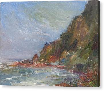 Cape Perpetua - Original Impressionist Contemporary Coastal Painting Canvas Print by Quin Sweetman
