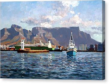Cape Town Harbor Entrance Canvas Print by Roelof Rossouw