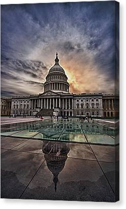 Capitol Building Against Setting Sun Canvas Print by Val Black Russian Tourchin