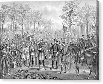Capitulation And Surrender Of Robert E Lee Canvas Print by American School
