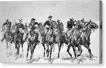 Captain Dodge's Troopers To The Rescue Canvas Print by Frederic Remington