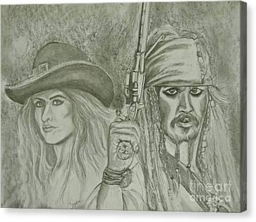 captain Jack Sparrow and Angelica Canvas Print by Sandra Valentini