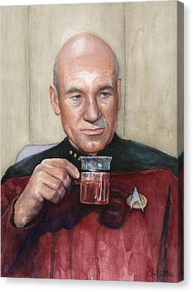 Captain Picard Earl Grey Tea Canvas Print by Olga Shvartsur