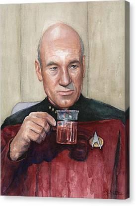 Captain Picard Earl Grey Tea Canvas Print by Olga Shvartsur