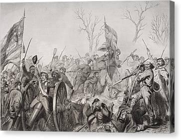 Capture Of A Confederate Flag At Battle Canvas Print by Vintage Design Pics