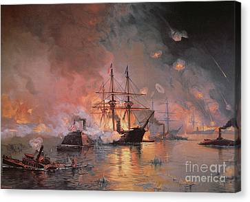 Capture Of New Orleans By Union Flag Officer David G Farragut Canvas Print by Julian Oliver Davidson
