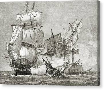 Capture Of The Guerriere By The Constitution Canvas Print by American School