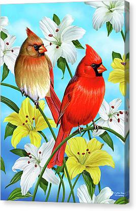 Cardinal Day Canvas Print by JQ Licensing