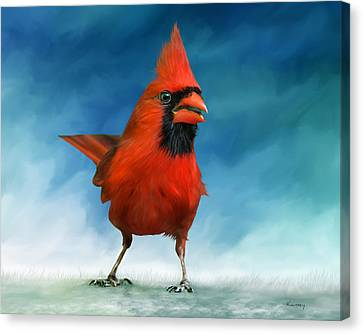 Cardinal Canvas Print by Johanne Dauphinais