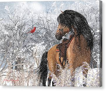 Cardinal Singing To A Beautiful Horse Canvas Print by Diana Voyajolu
