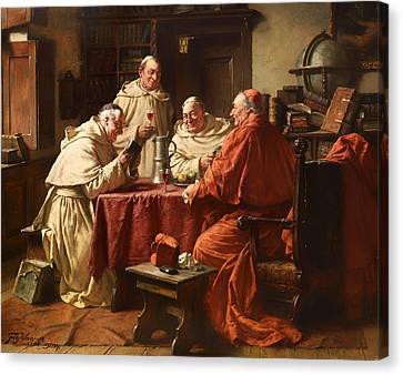 Cardinal With Monks In A Monastery Library Canvas Print by Mountain Dreams