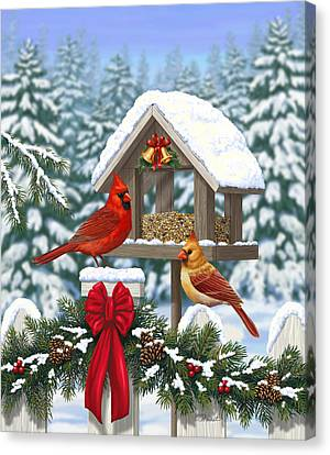 Cardinals Christmas Feast Canvas Print by Crista Forest