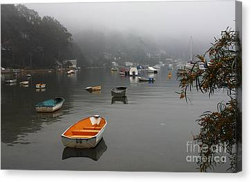 Careel Bay Mist Canvas Print by Avalon Fine Art Photography