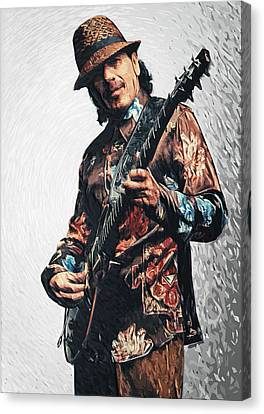 Carlos Santana Canvas Print by Taylan Apukovska