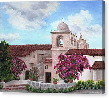 Carmel Mission In Spring Canvas Print by Laura Iverson